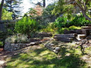 Before: The original path to the backyard was a steep and uneven mix of ramps, railroad ties, urbanite, and bare slopes.