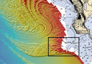 This Seafloor Map released by the US National Oceanic and Atmospheric Administration shows the geology behind Mavericks.