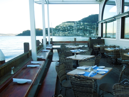 Outdoor patio at the Trident, Sausalito