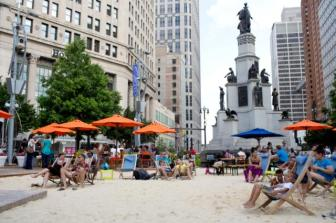 In downtown Detroit, an underutilized lawn was transformed into a beach at Campus Martius Park. Photo from pps.org