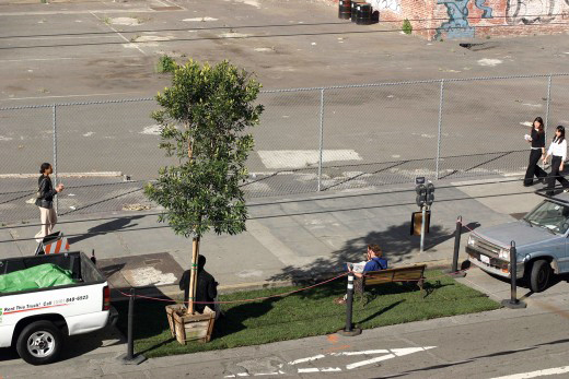 The original PARK(ing) Day park created by Rebar in 2005. Photo from Rebar